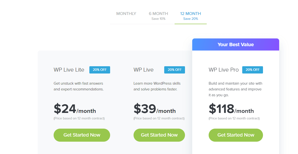 Mojo Marketplace WP Live Plans and Pricing