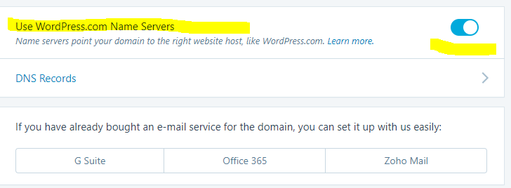 WordPress name server
